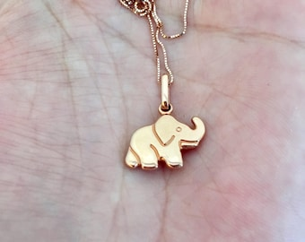 """10k Solid Rose Gold Box Necklace Elephant Good Luck Charm 18"""" Gift"""