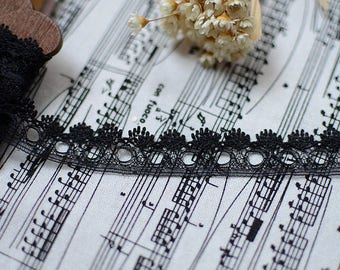 Lace tulle embroidered black Largeur1.8cm L018004