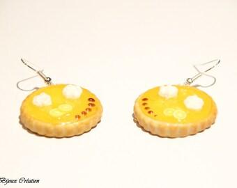 Earrings in polymer clay Lemon tart