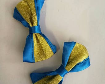 Gold and blue set of two hair bows on strong crocodile hair clips