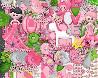 50% Off Littile Princess  Digital Scrapbooking Kit,Princess Cliparts ,butterfly Cliparts,Birthday Girl Cliparts