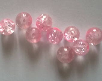 Set of 280 cracked pink and transparent beads 6mm