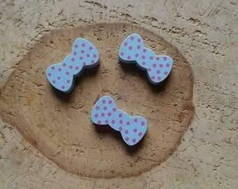 Pearl Pink Blue polka dot bow