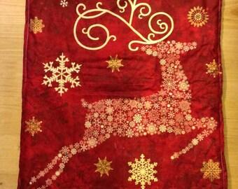 Super long Christmas fabric panel-  reindeer - Panneau de Noël en tissu fait main par Kirsty