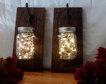 Mason Jar Lantern Pair