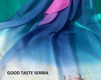 Purple Chiffon Scarf Purple Silk Scarf Purple Polyester Scarf Purple Georgette Scarf Women Shawl Purple Scarves Purple Hijab Wrap Bandana