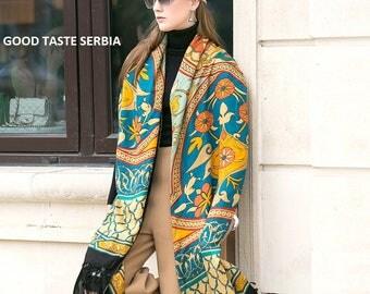 Poncho Multicolor Scarf Pashmina Shawl Boho Bohemian Scarves Rainbow Oversized Wool Scarf Cashmere Scarf Inca Maya Aztec Indian Tribal Etnic