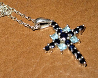 Topaz and sapphire 925 silver cross