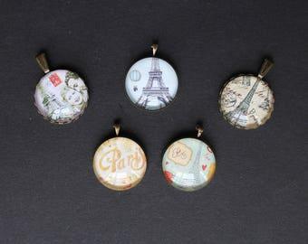 5 pendants with 25 mm retro Paris support