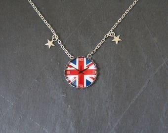 Glass cabochon, Union Jack necklace, watch