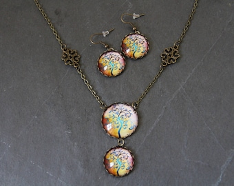 Necklace with Earrings, tree of life, multicolor
