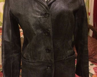 90's Black distressed leather women's coat