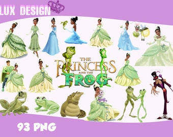93 The Princess and the Frog ClipArt- PNG Images Digital, Clip Art, Instant Download, Graphics transparent background Scrapbook