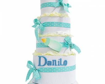 Diaper cake 4 floors with name