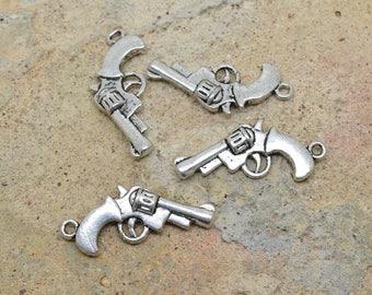 4 X American pistol gun charm silver plated 25mm / 15mm