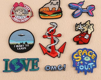 Space patches,patches,Love patches,I want to leave patches,Iron on patches,Earth patches,flying Saucer patches,UFO patches
