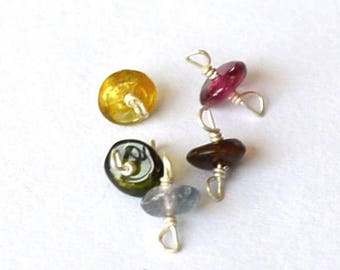 Beautiful set of 5 connectors of Tourmaline beads