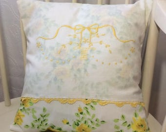 "Cottage Chic Yellow Roses Pillow Cover from Vintage Embroidered Linens & Vintage Sheet (16""x16"")"