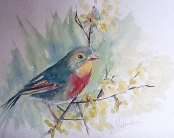 """bird on branch"": watercolor 36 by 26 cm"