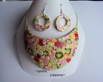 "Set theme ""summer citrus"" bib necklace and matching earrings"