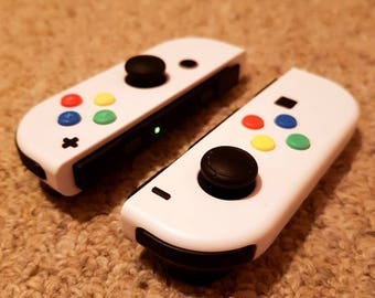 Custom Joy-Con Pair (Nintendo Switch) - Arctic White with SNES Style Coloured Buttons