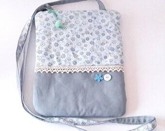 Flower handbag, linen and cotton shoulder strap, blue handbag, spring handbag, shoulder bag, fabric shoulder strap