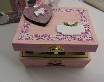 "Jewelry box rose ""Liberty"", ""the little sheep rose"" wooden box"