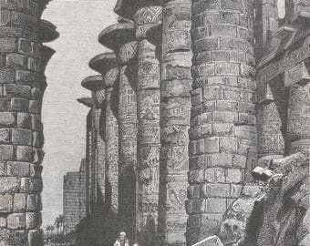 Ruins of Thebes (Karnak), Egypt 1883 - Old Antique Vintage Engraving Art Print - Columns, Capitals, Brick, Ornamentation, Patterns, Men