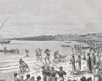 Somalia 1885, Our departure from Moguedouchou, Old Antique Vintage Engraving Art Print, Man, Woman, Child, Animal, Rifle, Gun, Shore, Boat