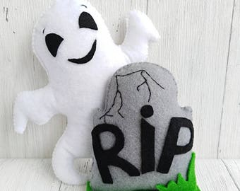Halloween Decorations Tombstones Grave RIP Spooky Decor Toy Felt Favors Kids Halloween Ornaments Skull Halloween Party Ghost