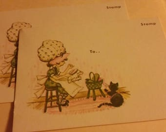Vintage Greeting Card - penny Wise Post Cards - Bonnet Girl Embroidering with Cat -  2 postcards