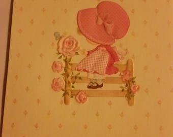 Vintage Greeting Card - Embossed Bonnet Girl Sitting on Fence - Hallmark Birthday Card for Niece