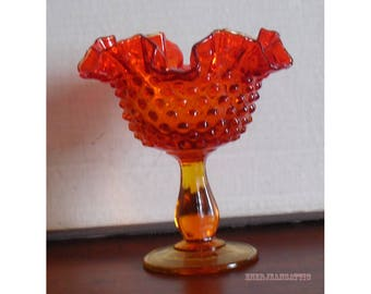 Fenton Hobnail Compote in Orange 6 inches in height with Crimped Edge