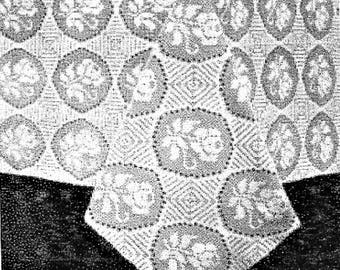 PDF Crochet Pattern, Rose Window Tablecloth, Lilly Dedsign