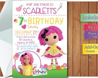 ¡INVITACIÓN de lalaloopsy con tarjeta de gracias FREEEE! Invitación de la fiesta de lalaloopsy, Banner de cumpleaños