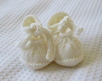 Baby booties- White baby booties -Christening shoes