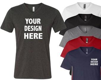 V-Neck Custom T-Shirt Customizable Family Business Event Wholesale Bulk Personalized Unisex Personalized T Shirt