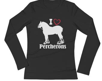 I Love Percherons Ladies Long Sleeve Jersey T-Shirt