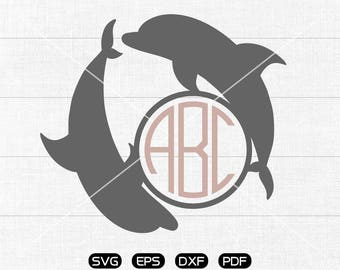 Dolphin Svg, Dolphin Clipart, Monogram Frame cricut, cameo, silhouette cut files commercial & personal use