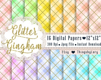 16 Gold Glitter Gingham Pattern Papers 12x12 Inch, Jpeg File, Instant Download, High Resolution 300 Dpi, Commercial Use, Seamless Pattern