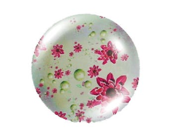Set of 2 cabochon 25mm round natural glass