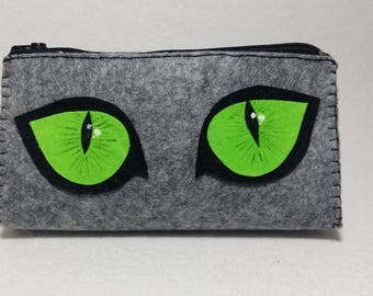 cat's eyes&paw for cat lover felt wallet make-up organizers jewelery bag pencil case purse personalized valentines day gift for her clucth