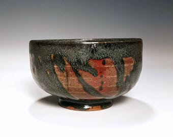 Black Bowl / Cereal Bowl / Red Ceramic Bowl / Stoneware Bowl / Wheel Thrown Bowl / Handmade Bowl / Pottery Gift for Men