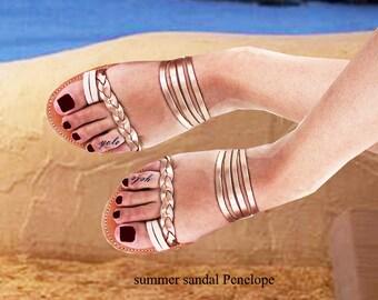 Women's Sandals,Sandals Women's, Greek Sandals,Ladies Sandals,Rose Gold SandalsToe Ring Sandals,,Handmade Sandals, Leather Sandals, EVRIDIKI
