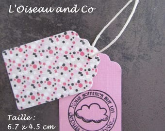 Set of 12 tags: roses stamped + white dots