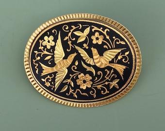 Vintage  Damascene Flower & bird brooch .