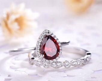Garnet Engagement Ring Set Pear Shaped cut White Gold 925 Sterling Silver 14k 18k halo CZ Wedding Band Marquise Milgrain Stacking Band Women