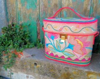 box colored handbag