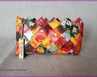"""Wallet made of recycled paper laminated theme """"flowers"""""""