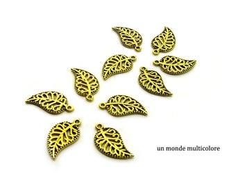 10 charms leaf color, antique gold 18 x 10 mm